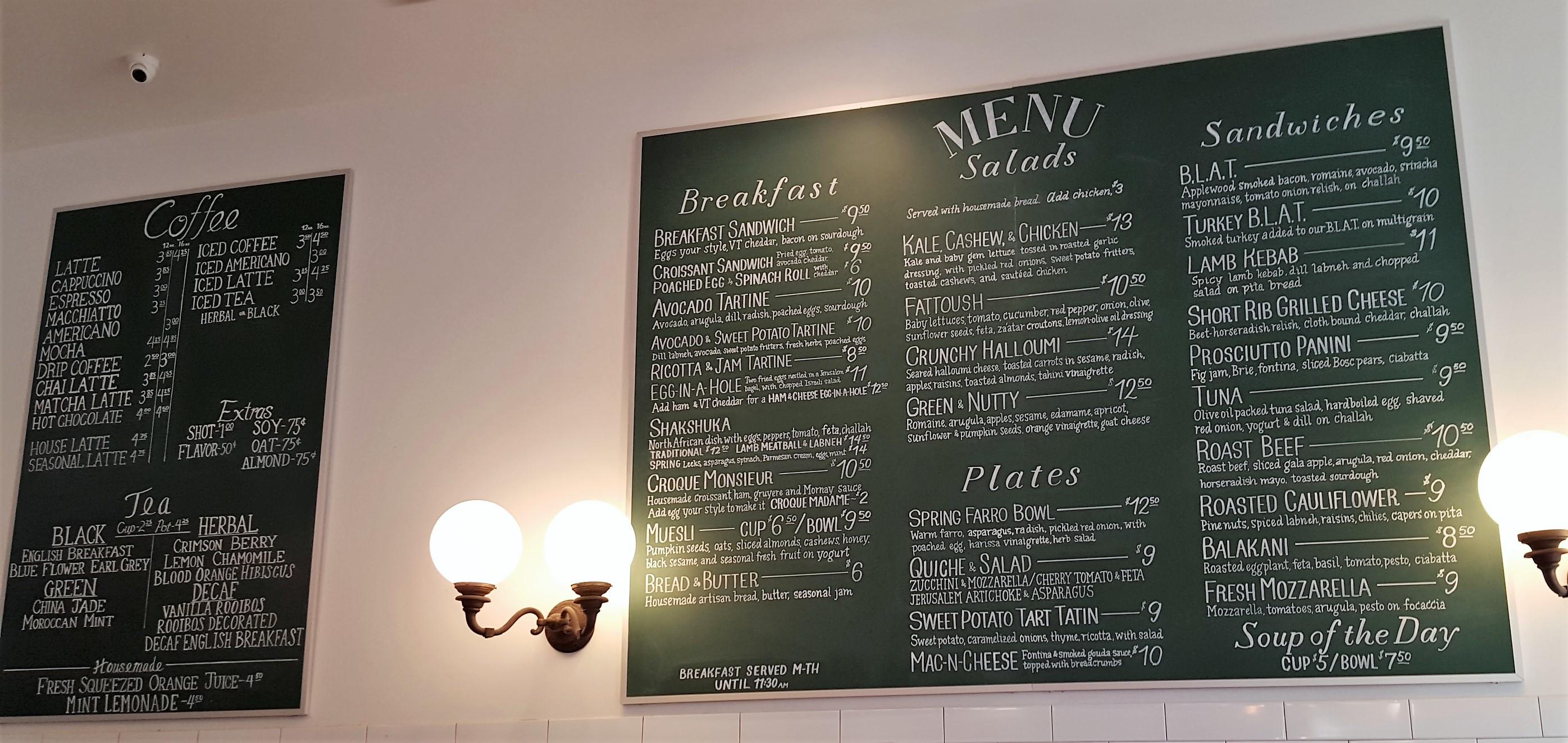 Boston Tatte menu