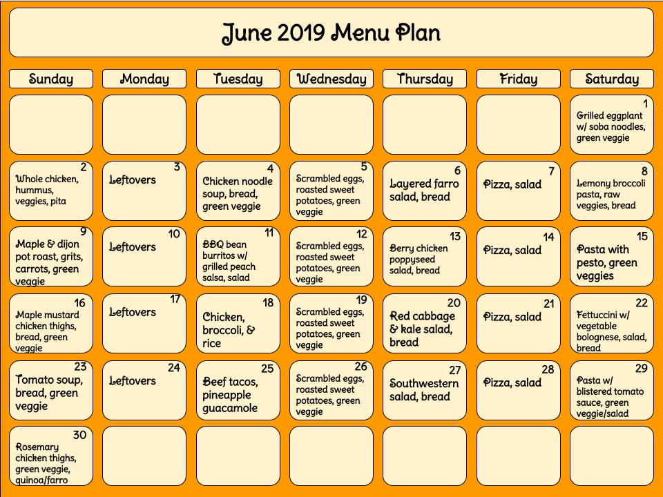 June 2019 Menu Plan